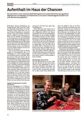 Artikel Haus Chance Bildung Schweiz 26